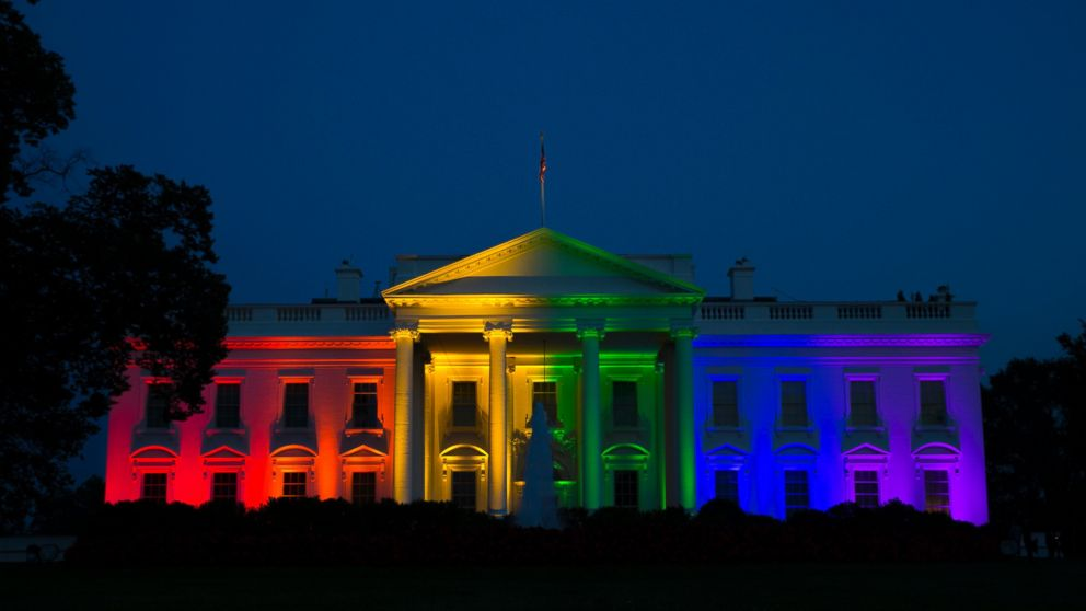 The White House, lit with rainbow-colored lights, to celebrate the Supreme Court ruling recognizing gay marriage as legal everywhere in America.
