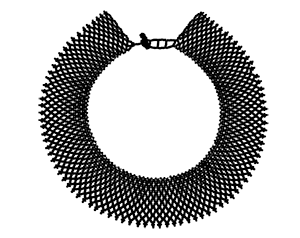 A picture of Ruth Bader Ginsburg's iconic collar, but in black.