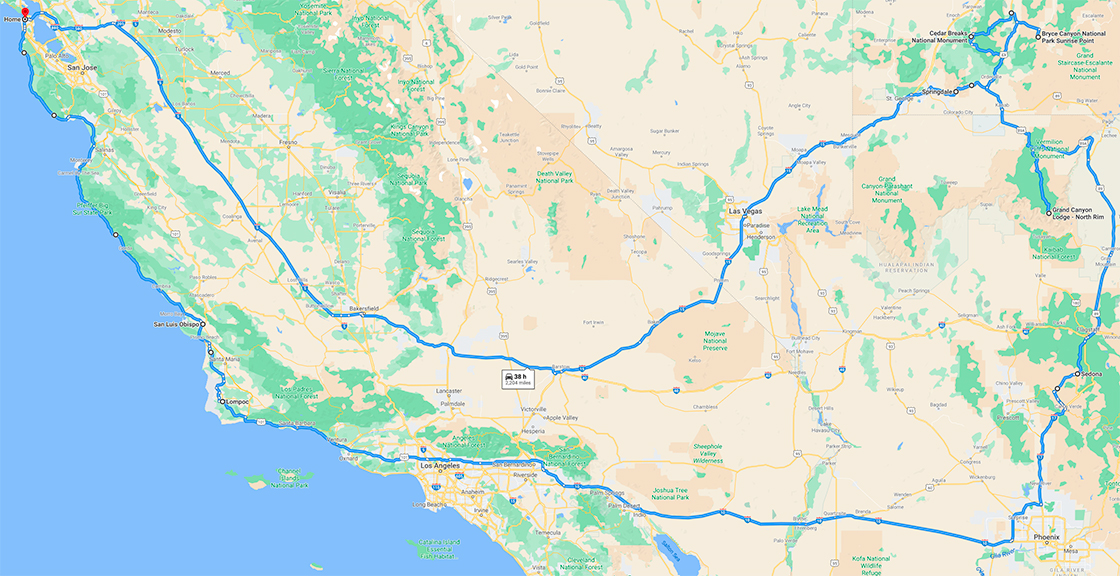 A map of my trip, from San Francisco to a number of national parks, then back up along the coast.