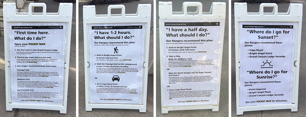 Sandwich boards showing advice for how to visit the park.