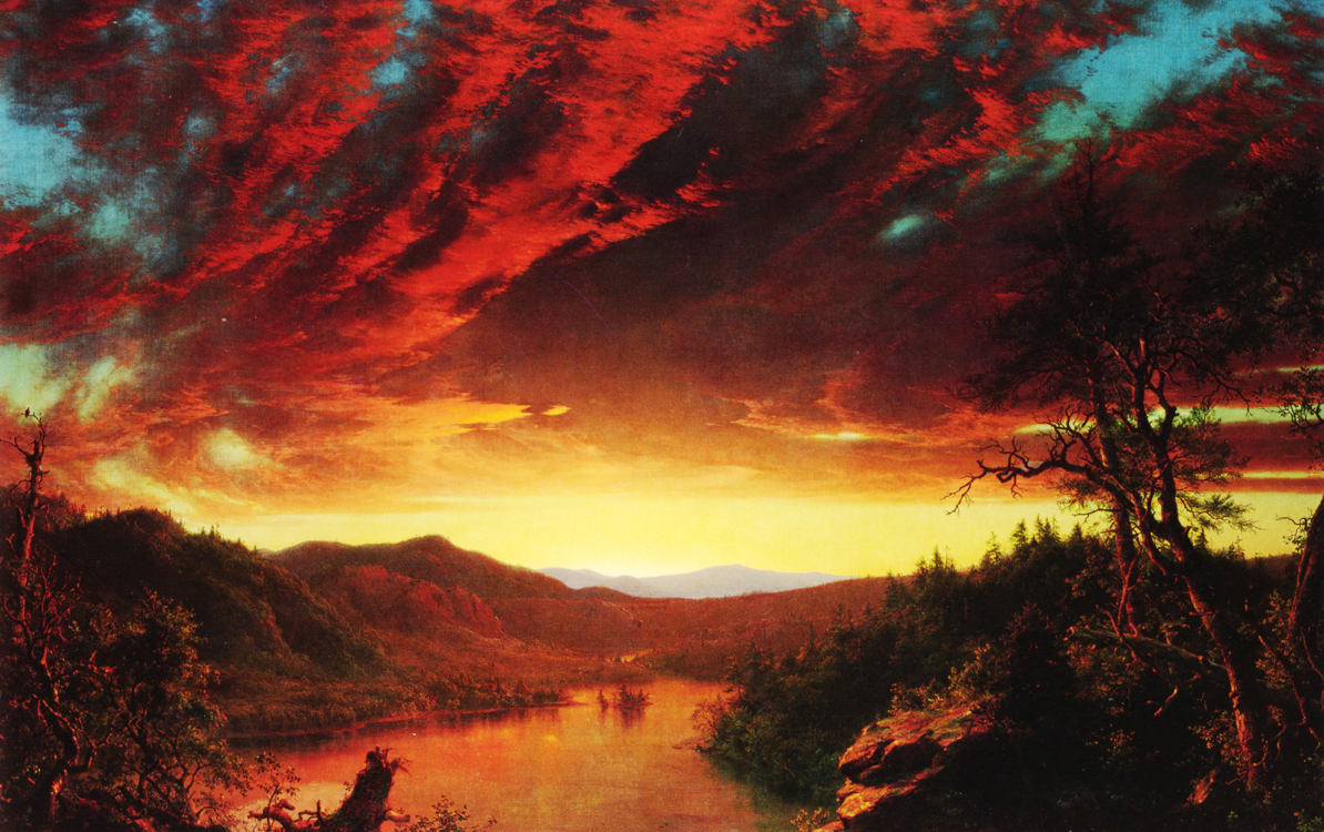 A painting of a sun setting over a river, with a mountain in the distance. The clouds are illuminated in reds and blues.